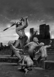 Les Edwards' frontispiece for Conan's Brethren